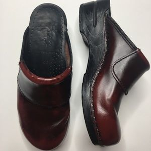 Dansko oxblood red slip on clogs